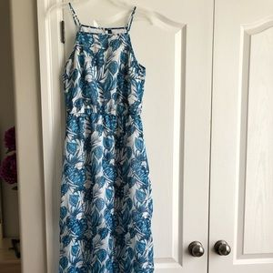 H&M Blue & White Summer Dress with Slits